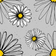 Chamomile hand drawn ink flowers made with pen. Modern fresh pattern with white flowers on background.