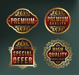 High Quality Luxury Labels on Dark Background . Vector Isolated Illustration