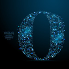Abstract image of the letter O of a starry sky or space, consisting of points, lines, and shapes in the form of planets, stars and the universe. Vector business