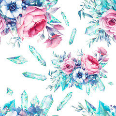 Watercolor flowers with gemstones seamless pattern. Hand painted repeating floral texture with  minerals on white background. Vintage style peony, roses, anemone, berries and leaves posy, jewels.
