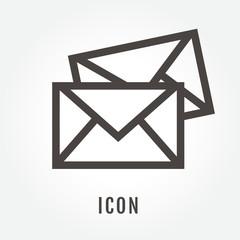 icon Three grey envelopes illustration isolated sign symbol thin line for modern minimalistic flat design vector on white background. logo