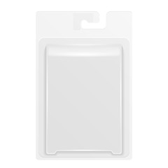 White Product Package Box Blister With Hang Slot. Illustration Isolated On White Background. Mock Up Template Ready For Your Design. Product Packing Vector EPS10