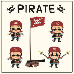Set isolated pirate in cartoon style. Collection funny pirate in different poses with pistols, sword, ship gun and flag Jolly Roger.