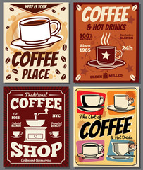 Cafe and restaurant retro posters vector templates with coffee stain