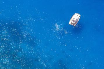 White yacht in the Mediterranean Sea