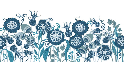 A seamless border with stylized flowers in a blue-turquoise color scheme