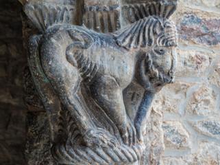 Closeup of Catalan roman art sculpture in the Abbey of Saint-Martin du Canigou