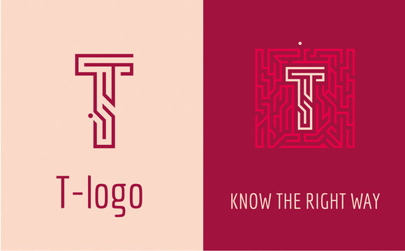 Creative logo for corporate identity of company: letter T. The logo symbolizes labyrinth, choice of right path, solutions. Suitable for consulting, financial, construction, road companies, quests.