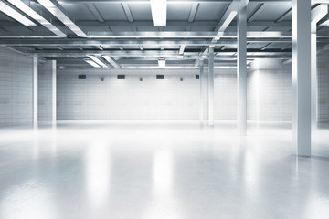 Light interior with blank wall