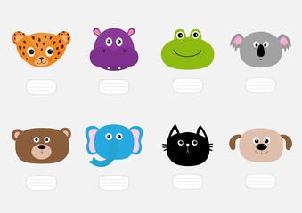 Cat, jaguar, dog, hippopotamus, elephant, bear, frog, koala. Zoo animal head face. Text plate. Cute cartoon character set. Baby children education. Flat design. White background. Isolated