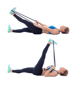 Elastic band hamstring stretch