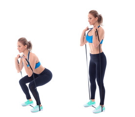 Elastic band squat