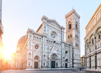 Acrylic Prints Florence Florence Cathedral Santa Maria del Fiore sunrise view, Tuscany, Italy