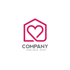 house and heart logo vector. home care logo vector, Heart love, love home family logo , royalty. Realty logo, mortgage. Real estate. Lawyer office. Development logo