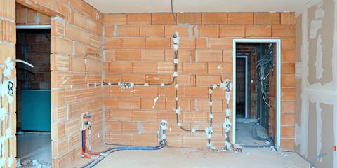 Hausbau, Ziegel, Installation