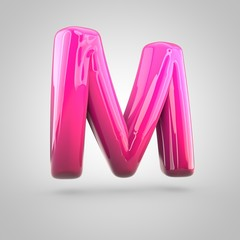 Glossy red and pink gradient paint alphabet letter M uppercase isolated on white background