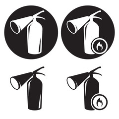 Fire extingusher icons set