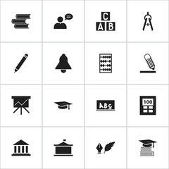 Set Of 16 Editable Science Icons. Includes Symbols Such As Writing, Univercity, Literature And More. Can Be Used For Web, Mobile, UI And Infographic Design.