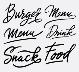 Food and snack hand written typography. Good use for logotype, symbol, cover label, product, brand, poster title or any graphic design you want. Easy to use or change color