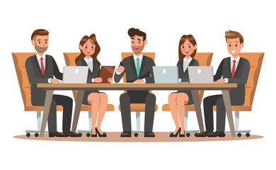 Set of business characters working in office. Vector illustration design no2