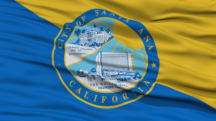 Closeup of Santa Ana City Flag, Waving in the Wind, California State, United States of America