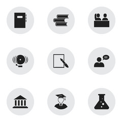 Set Of 9 Editable University Icons. Includes Symbols Such As Library, Diplomaed Male, Student And More. Can Be Used For Web, Mobile, UI And Infographic Design.
