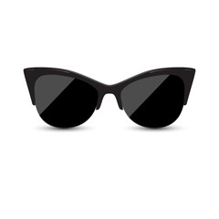 Fashionable female black glasses kitty with oval glasses on a white background. Vector illustration.