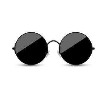 Black round glasses on a white background. Vector illustration.
