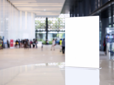 Mock up sign stand on Table Interior Building Hall event