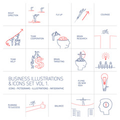 vector concept business icons set volume one | flat design linear illustration and infographic blue and red isolated on white background