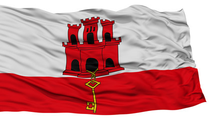 Isolated Gibraltar City Flag, Capital City of Gibraltar, Waving on White Background, High Resolution