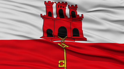 Closeup Gibraltar City Flag, Capital City of Gibraltar, Waving in the Wind