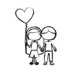 monochrome sketch of caricature faceless couple kids in casual clothes with balloon in shape of heart vector illustration
