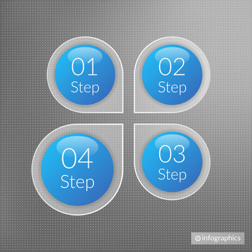 Four steps infographics. Isolated 1 2 3 4 number symbols background. Blue and white marketing vector illustration on grey dotted background