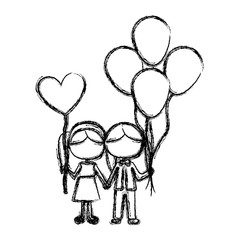 monochrome sketch of caricature faceless couple of boy with many balloons and her with balloon in shape of heart vector illustration