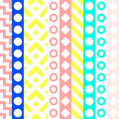 Retro color seamless pattern. Fancy abstract geometric art print. Ethnic hipster ornamental lines backdrop.