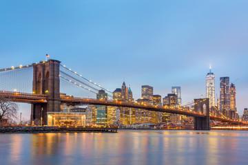 Printed kitchen splashbacks Brooklyn Bridge Brooklyn bridge and New York City Manhattan downtown skyline at dusk with skyscrapers illuminated over East River panorama. Panoramic composition.