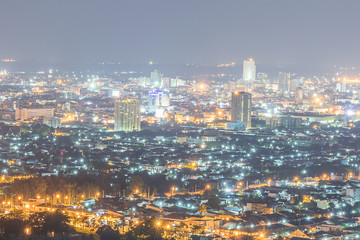 Night City scene at Hat Yai province in Thailand