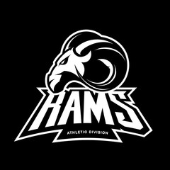 Furious ram sport club vector logo concept isolated on black background. 