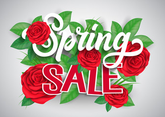 Spring Sale Lettering and Roses