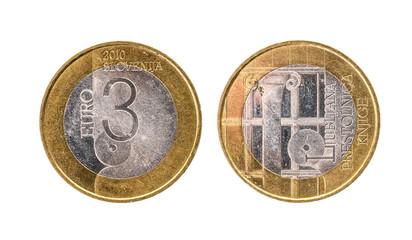 Used commemorative anniversary bimetal 3 euro € Slovenia coin 2010.