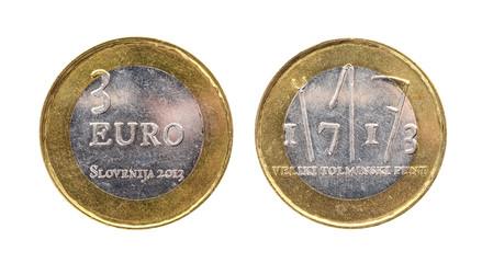 Used commemorative anniversary bimetal 3 euro € Slovenia coin 2013.