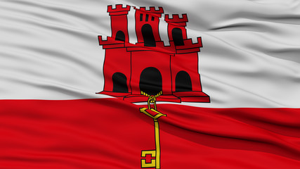 Closeup Gibraltar Flag, Waving in the Wind, High Resolution
