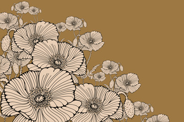 stylized poppy flowers corner ornament in gold and ivory
