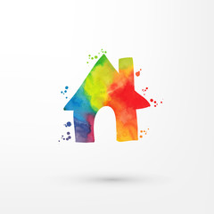 Vector rainbow grungy watercolor home icon inside circle with paint stains and blots, painting of house.