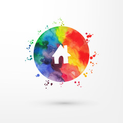 Vector rainbow grungy watercolor icon inside circle with paint stains and blots.