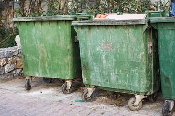 City trash cans. Dumpster