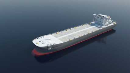 Aerial View of Tanker Ship Sailing Across the Ocean. 3D Rendering