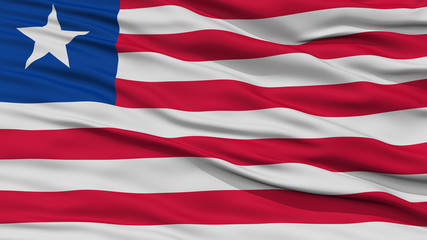 Closeup Liberia Flag, Waving in the Wind, High Resolution