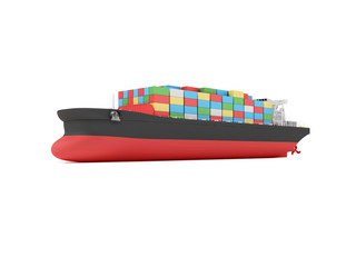 Modern Cargo Tanker Ship isolated on white background. 3D Rendering